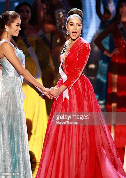 Miss USA 2012 Olivia Culpo reacts as she is named the 2012 Miss Universe during the 2012 Miss Universe Pageant at Planet Hollywood Resort & Casino on...