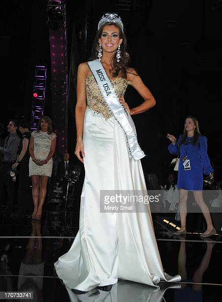 Miss USA 2013 Erin Brady attends a news conference following the 2013 Miss USA competition at Planet Hollywood Resort Casino on June 16 2013 in Las...