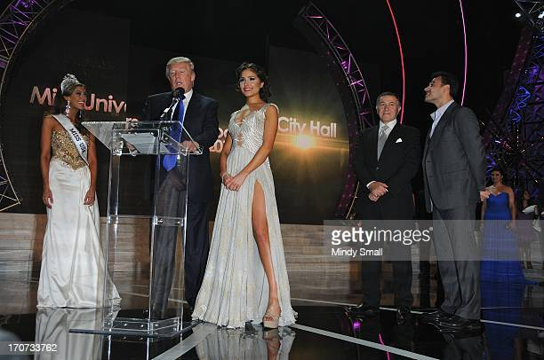 Miss USA 2013 Erin Brady Donald Trump Miss Universe 2012 Olivia Culpo Aras Agalarov and Emin Agalarov attend a news conference following the 2013...