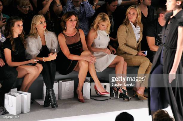 Miss USA 2013 Erin Brady Miss Teen USA 2013 Cassidy Wolf LuAnn de Lesseps Ramona Singer and Sonja Morgan attend the Zang Toi fashion show during...