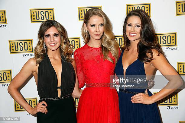 Miss USA 2013 Erin Brady Miss USA 2015 Olivia Jordan and Miss USA 2014 Nia Sanchez attend the USO 75th Anniversary Armed Forces Gala Gold Medal...