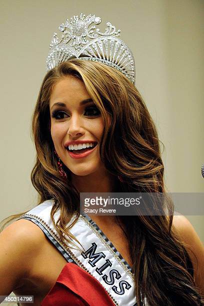 Miss USA 2014 Nia Sanchez addresses the media in the 2014 Miss USA Competition press conference at The Baton Rouge River Center on June 8 2014 in...