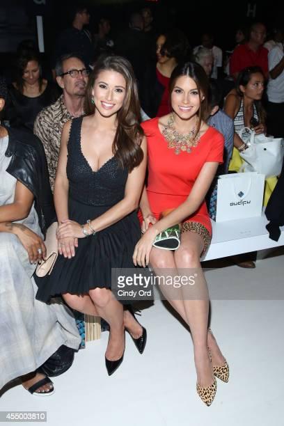 Miss USA 2014 Nia Sanchez and Miss Universe 2013 Gabriela Isler attend the Oudifu fashion show during MercedesBenz Fashion Week Spring 2015 at The...