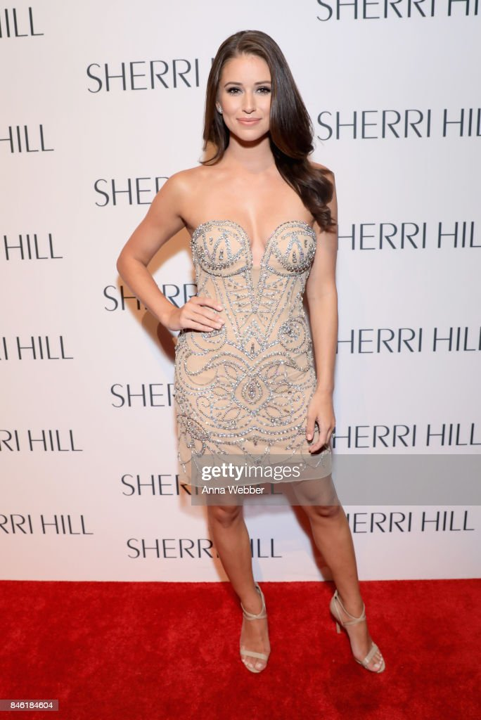 Miss USA 2014 Nia Sanchez attends the Sherri Hill NYFW SS18 runway show at Gotham Hall on September 12, 2017 in New York City.