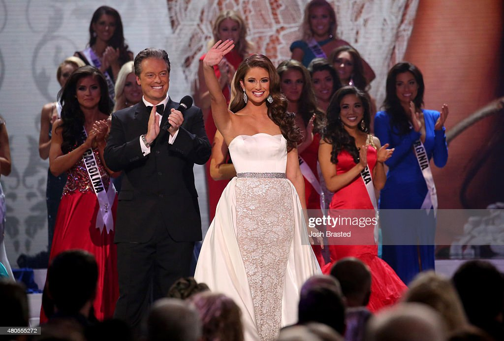 Miss USA 2014 Nia Sanchez on stage at the 2015 Miss USA Pageant Only On ReelzChannel at The Baton Rouge River Center on July 12, 2015 in Baton Rouge, Louisiana.