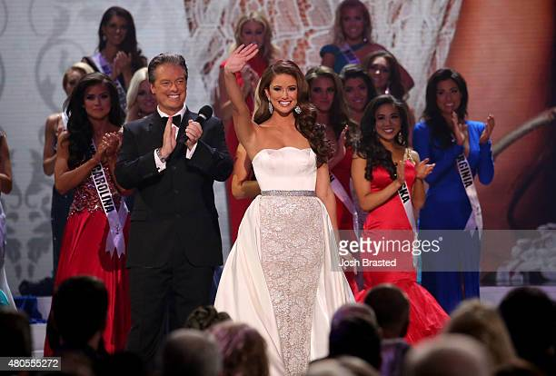 Miss USA 2014 Nia Sanchez on stage at the 2015 Miss USA Pageant Only On ReelzChannel at The Baton Rouge River Center on July 12 2015 in Baton Rouge...