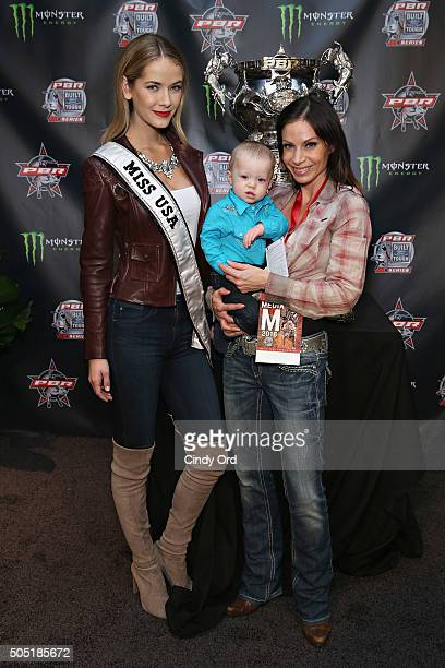 Miss USA 2015 Olivia Jordan and journalist Jill Nicolini attend the 2016 Professional Bull Riders Denim Diamonds Party at Madison Square Garden on...