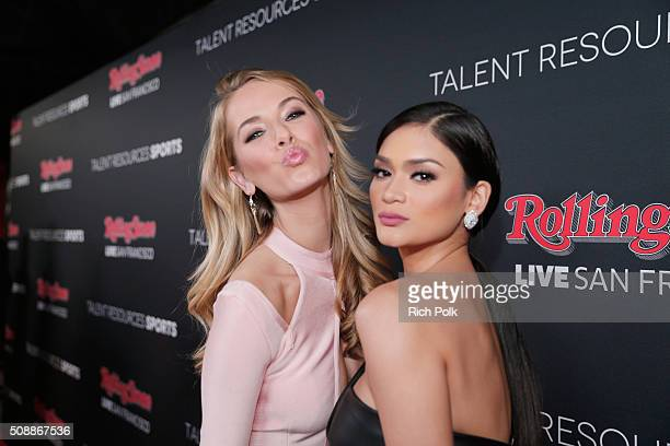 Miss USA 2015 Olivia Jordan and Miss Universe 2015 Pia Wurtzbach attend Rolling Stone Live SF with Talent Resources on February 6 2016 in San...