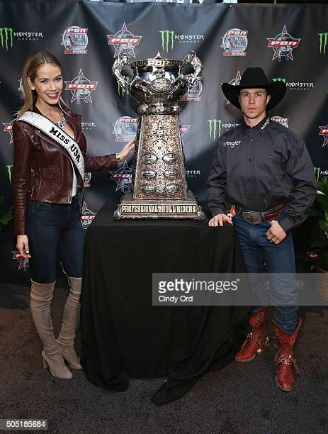 Miss USA 2015 Olivia Jordan and Professional Bull Rider Cody Nance attend the 2016 Professional Bull Riders Denim Diamonds Party at Madison Square...