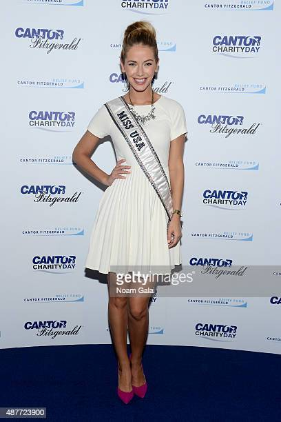 Miss USA 2015 Olivia Jordan attends the annual Charity Day hosted by Cantor Fitzgerald and BGC at Cantor Fitzgerald on September 11 2015 in New York...