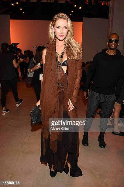 Miss USA 2015 Olivia Jordan attends the Nicholas K fashion show during Spring 2016 New York Fashion Week The Shows at The Gallery Skylight at...