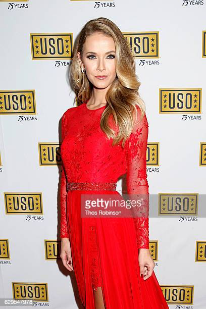 Miss USA 2015 Olivia Jordan attends the USO 75th Anniversary Armed Forces Gala Gold Medal Dinner at Marriott Marquis Times Square on December 13 2016...