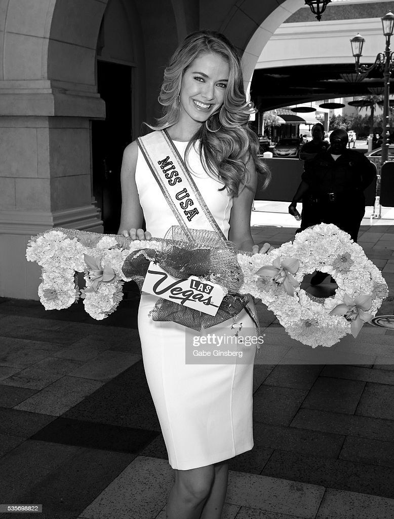 Miss USA 2015 Olivia Jordan holds a ceremonial key during a launch event for the Las Vegas official Snapchat channel at The Venetian Las Vegas on May 29, 2016 in Las Vegas, Nevada.
