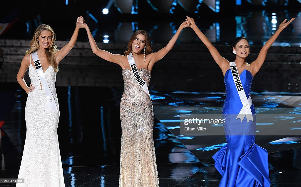 Miss USA 2015, Olivia Jordan, Miss Colombia 2015, Ariadna Gutierrez Arevalo (L), and Miss Philippines 2015, Pia Alonzo Wurtzbach, react after being named the top three finalists during the 2015 Miss Universe Pageant at The Axis at Planet Hollywood Resort & Casino on December 20, 2015 in Las Vegas, Nevada. Wurtzbach went on to be be named the new Miss Universe and Gutierrez Arevalo the first runner-up.