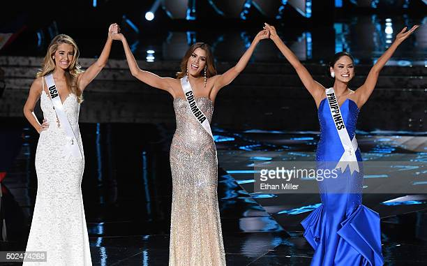 Miss USA 2015 Olivia Jordan Miss Colombia 2015 Ariadna Gutierrez Arevalo and Miss Philippines 2015 Pia Alonzo Wurtzbach react after being named the...