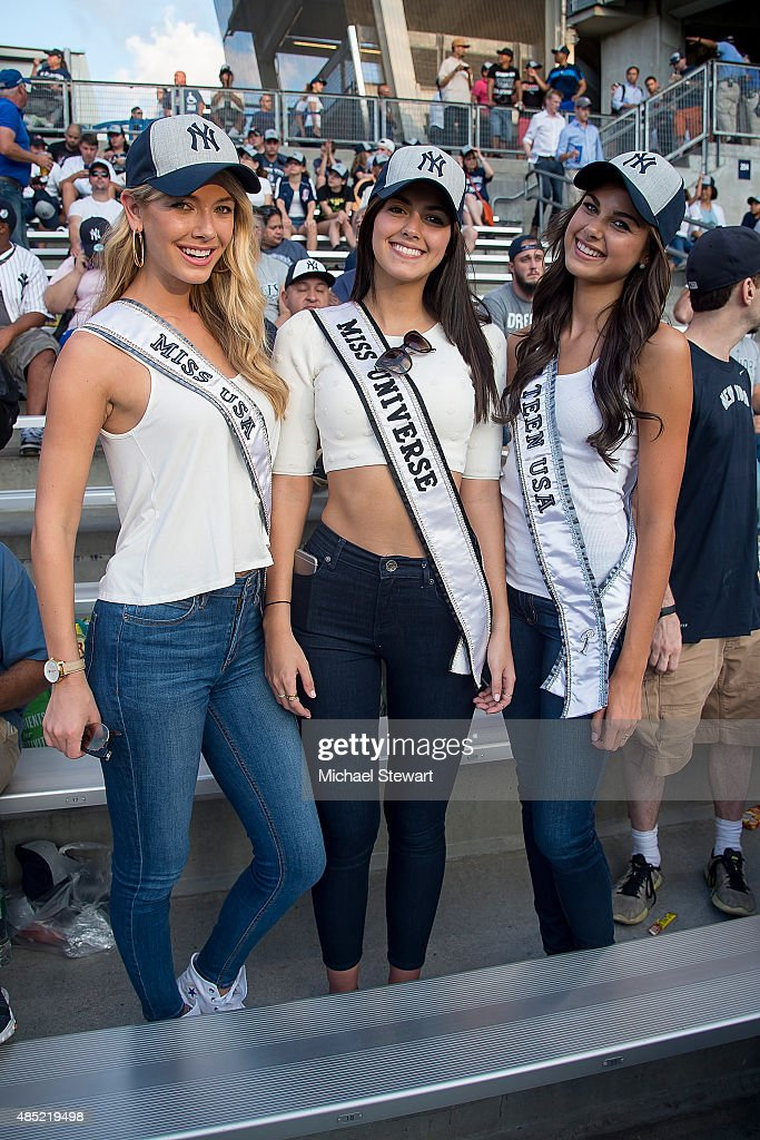 Miss Universe, Miss USA And Miss Teen USA Attend New York Yankees vs Houston Astros Game : News Photo