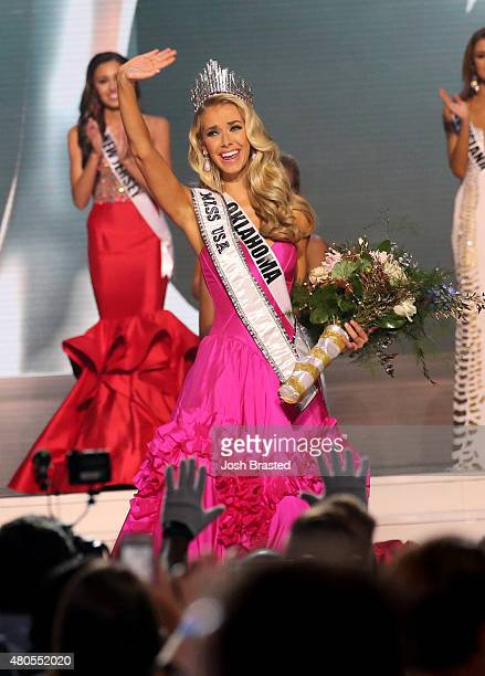 Miss USA 2015 Olivia Jordan of Oklahoma is crowned at the 2015 Miss USA Pageant Only On ReelzChannel at The Baton Rouge River Center on July 12 2015...