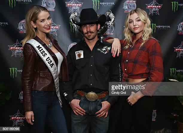 Miss USA 2015 Olivia Jordan Professional Bull Rider Tyler Harr and model Rachel Hilbert attend the 2016 Professional Bull Riders Denim Diamonds Party...
