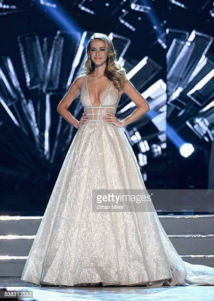 Miss USA 2015 Olivia Jordan speaks onstage during the 2016 Miss USA pageant at TMobile Arena on June 5 2016 in Las Vegas Nevada