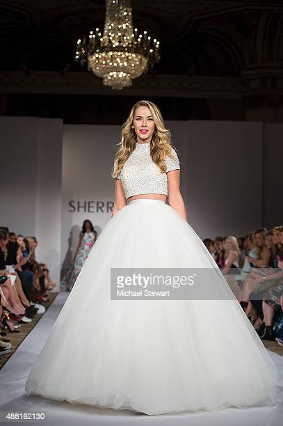 Miss USA 2015 Olivia Jordan walks the runway at the Sherri Hill fashion show during Spring 2016 New York Fashion Week The Shows at The Plaza on...