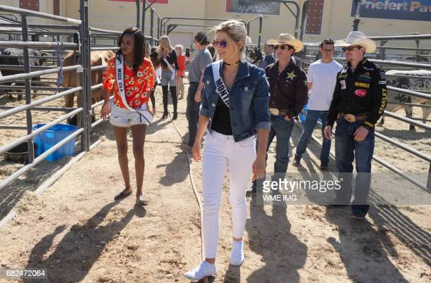Miss USA 2016 Deshauna Barber and Miss Montana USA 2017 Brooke Bezanson with Professional Bull Riders Stormy Wing and Matt Tripplet during a visit to...