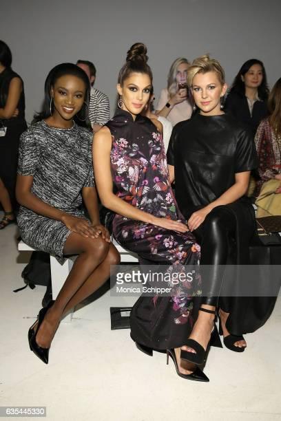 Miss USA 2016 Deshauna Barber Miss Universe 2016 Iris Mittenaere and Miss Teen USA 2016 Karlie Hay attend Fashion Hong Kong Fall/Winter 2017 during...