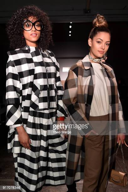 Miss USA 2017 Kara McCullough and Miss Universe 2017 DemiLeigh NelPeters attend the Vivi Zubedi front row during New York Fashion Week The Shows at...