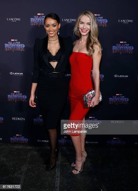 Miss USA 2017 Kara McCullough and Olivia Jordan attend Marvel Studios Presents Black Panther Welcome To Wakanda during February 2018 New York Fashion...