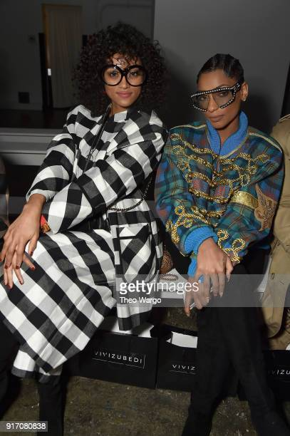 Miss USA 2017 Kara McCullough and recording artist Lea Robinson attend the Vivi Zubedi front row during New York Fashion Week The Shows at Industria...