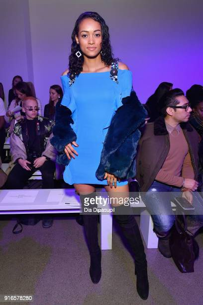 Miss USA 2017 Kara McCullough attends the Dan Liu fashion show during New York Fashion Week The Shows at Gallery II at Spring Studios on February 10...