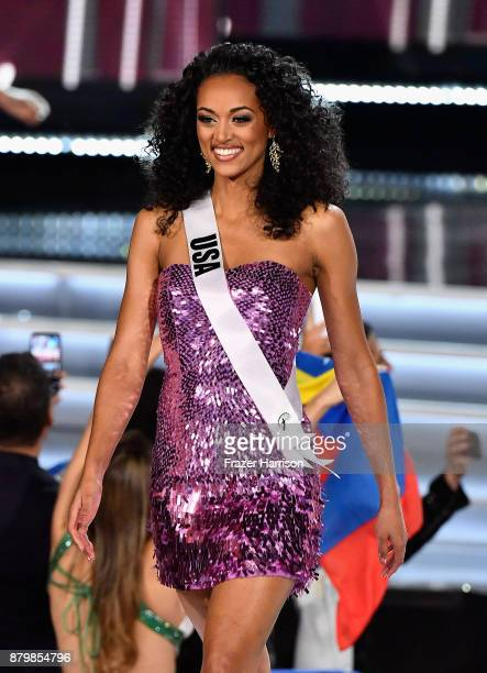 Miss USA 2017 Kara McCullough competes during the 2017 Miss Universe Pageant at The Axis at Planet Hollywood Resort Casino on November 26 2017 in Las...