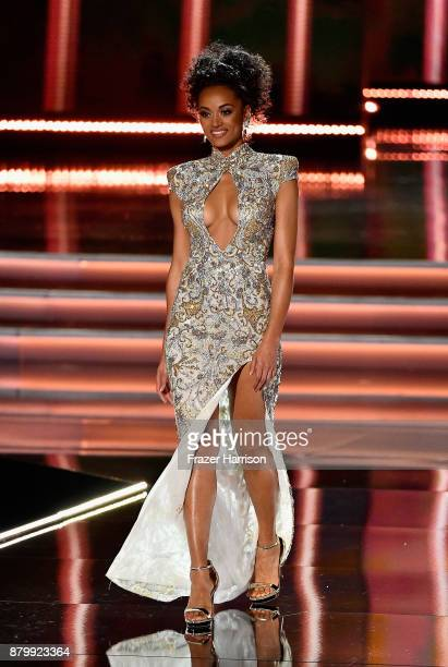 Miss USA 2017 Kara McCullough competes in the evening gown competition during the 2017 Miss Universe Pageant at The Axis at Planet Hollywood Resort...