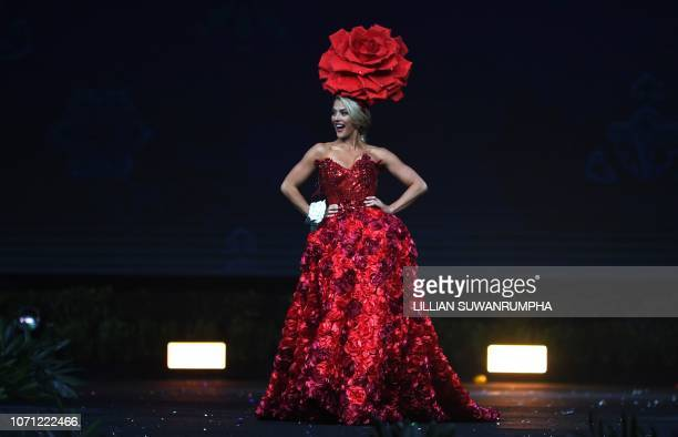 Miss USA 2018 Sarah Rose Summers poses on stage during the 2018 Miss Universe national costume presentation in Chonburi province on December 10 2018