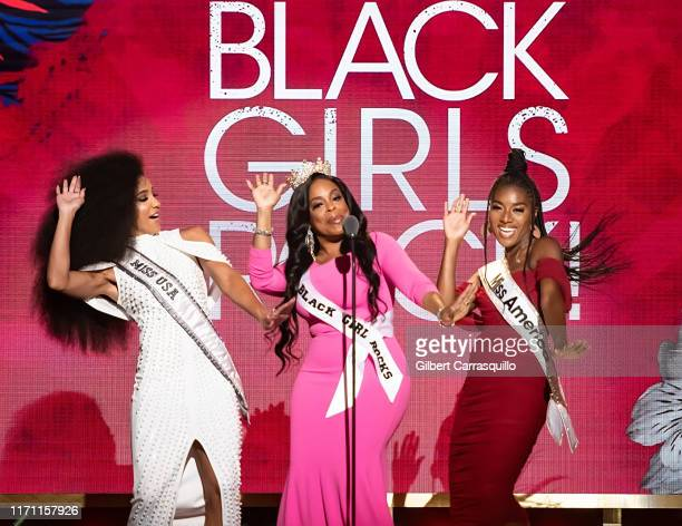 Miss USA 2019 Cheslie Kryst Actress Niecy Nash and Miss America 2019 Nia Franklin speak on stage during the 2019 Black Girls Rock at NJ Performing...