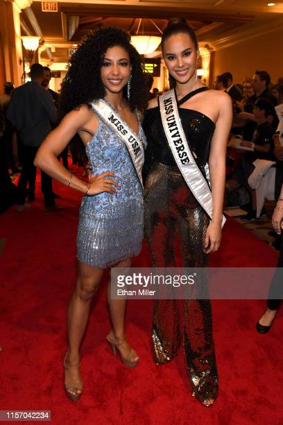 Miss USA 2019 Cheslie Kryst and Miss Universe 2018 Catriona Gray arrive at the 2019 NHL Awards at the Mandalay Bay Events Center on June 19 2019 in...