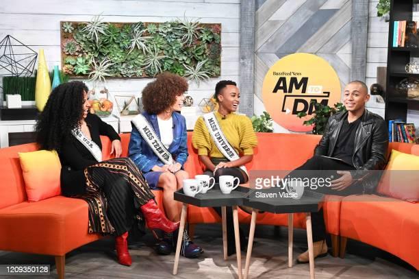 Miss USA 2019 Cheslie Kryst Miss Teen USA 2019 Kaliegh Garris and Miss Universe 2019 Zozibini Tunzi speak to host Zach Stafford at BuzzFeed's AM To...