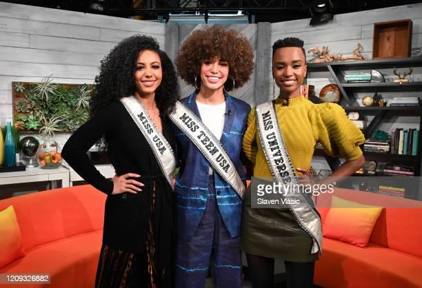 "Miss USA 2019 Cheslie Kryst, Miss Universe 2019 Zozibini Tunzi and Miss Teen USA 2019 Kaliegh Garris visit BuzzFeed's ""AM To DM"" on February 28, 2020..."