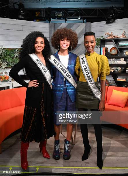 Miss USA 2019 Cheslie Kryst Miss Universe 2019 Zozibini Tunzi and Miss Teen USA 2019 Kaliegh Garris visit BuzzFeed's AM To DM on February 28 2020 in...
