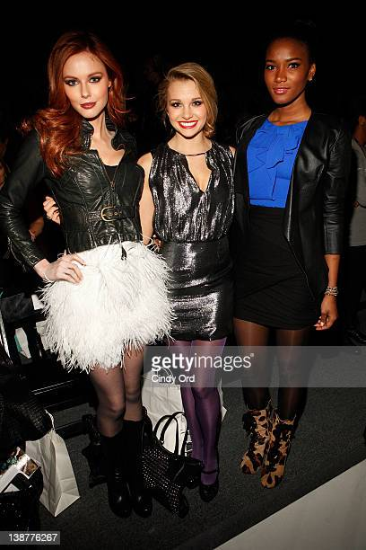 Miss USA Alyssa Campanella Miss Teen USA Danielle Doty and Miss Universe Leila Lopes attend the Venexiana Fall 2012 fashion show during MercedesBenz...
