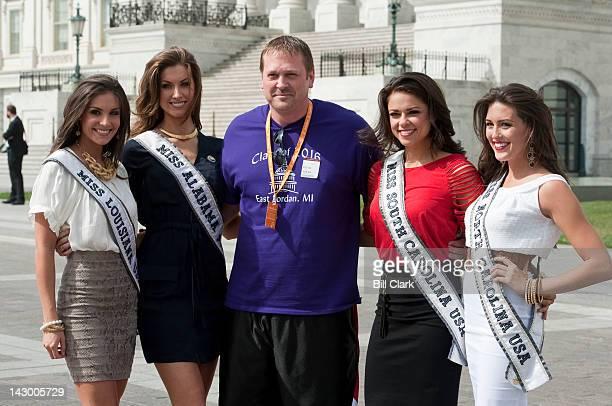 Miss USA contestants from left Miss Louisiana Erin Edmiston Miss Alabama Katherine Webb Miss South Carolina Erika Powell and Miss North Carolina...