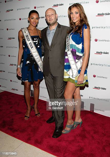 Miss USA Crystle Stewart producer Guy Jacobson and Miss Universe Dayana Mendoza attend a screening of 'Holly' at the Hearst Tower on August 5 2008 in...