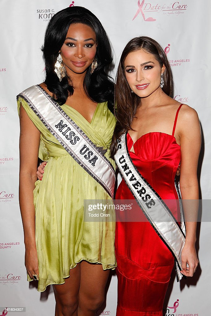 Miss USA Nana Meriwether and Miss Universe Olivia Culpo pose at the Date for the Cure To Benefit Susan G. Komen For The Cure on February 16, 2013 in Universal City, California.