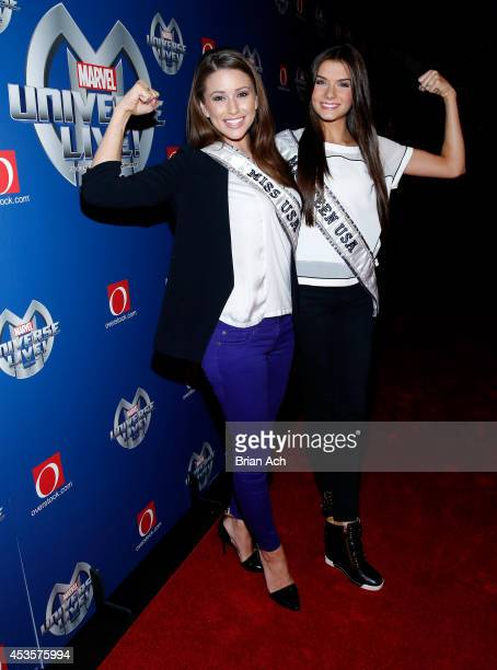 Miss USA Nia Sanchez and Miss Teen USA K Lee Graham attend Marvel Universe LIVE NYC World Premiere on August 13 2014 in New York City