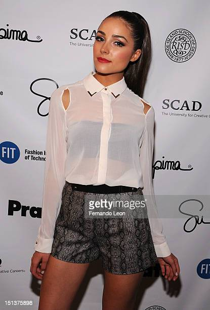 Miss Usa Olivia Culpo pose backstage at the Supima Spring 2013 fashion show during MercedesBenz Fashion Week at The Studio at Lincoln Center on...