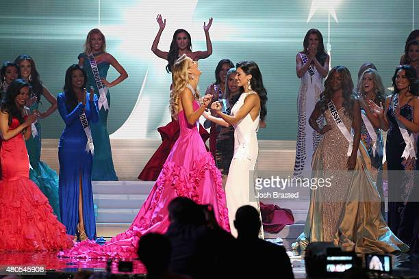 Miss USA Olivia Jordan and Miss Texas Ylianna Guerra onstage at the 2015 Miss USA Pageant Only On ReelzChannel at The Baton Rouge River Center on...