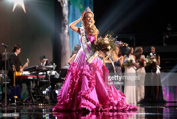 Miss USA Olivia Jordan of Oklahoma is crowned on stage at the 2015 Miss USA Pageant Only On ReelzChannel at The Baton Rouge River Center on July 12...
