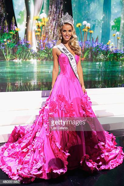 Miss USA Olivia Jordan of Oklahoma poses on stage at the 2015 Miss USA Pageant Only On ReelzChannel at The Baton Rouge River Center on July 12 2015...
