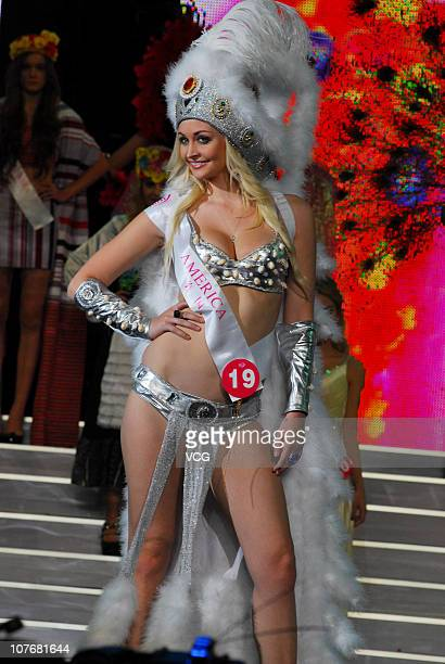 Miss USA poses during the 37th Miss Tourism International Global Final at Zhanjiang Sports Center on December 17 2010 in Zhanjiang Guangdong Province...