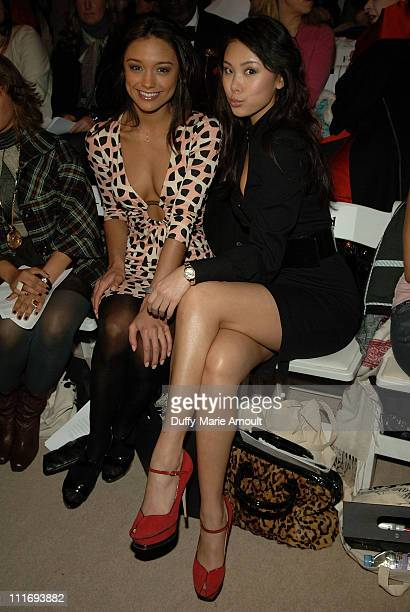Miss USA Rachel Smith and Miss Universe 2007 Riyo Mori attend Mara Hoffman and Araks Fall 2008 during MercedesBenz Fashion Week at The Promenade...