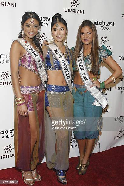 Miss USA Rachel Smith Miss Universe Riyo Mori and Miss Teen USA Katie Blair attend the Roberto Cavalli Vodka and Giuseppe Cipriani Halloween Party at...